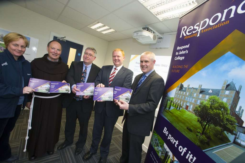 tured at Respond, Airmount, Waterford city where Minister Paudie Coffey TD officially launched the 'Respond to John's College' support services plan. Pictured are Catherine Power, John's College support committee, Fr Patrick Cogan CEO Respond, Tom Power General Manager Respond Support, Minister Paudie Coffey TD and Philip O'Reilly, National Co-ordinator of Services for Older People with Respond.