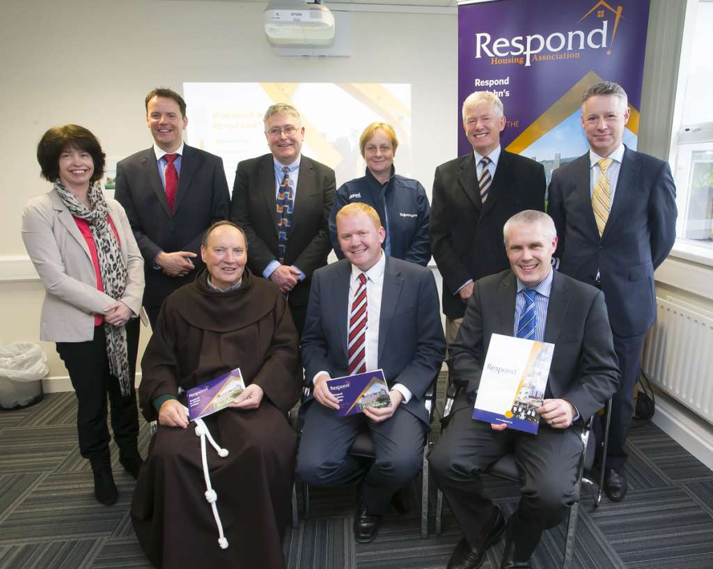 Pictured are standing from left, Susan Goulding Communications Officer, Alan Ryan AIB, Tom Power General Manager Respond Support, Catherine Power, John's College support committee, Aidan Barrett, John's College support committee, Michael Quinn, Director of Services, Waterford City & County Council. Seated are Fr Patrick Cogan CEO Respond, Minister Paudie Coffey TD and Philip O'Reilly, National Co-ordinator of Services for Older People with Respond.